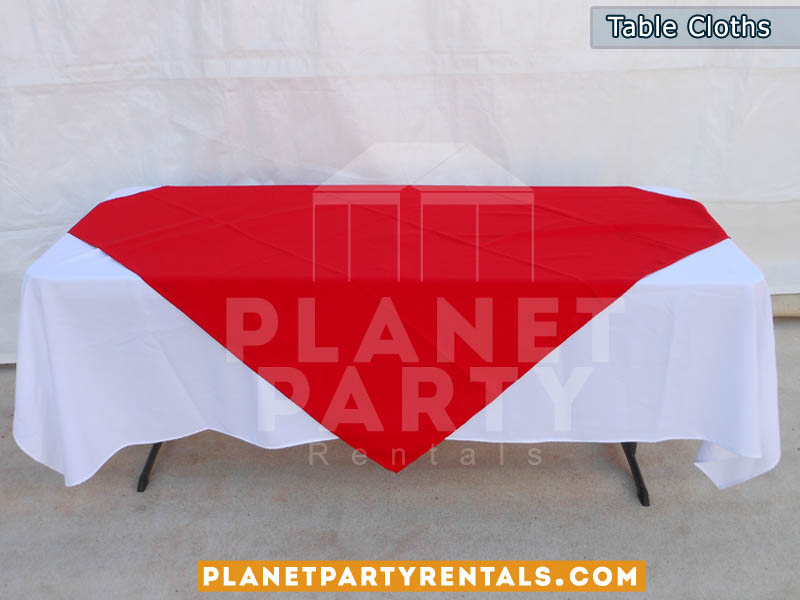 Rectangular Table with White Rectangular Table Cloth and Red Overlay/Runner