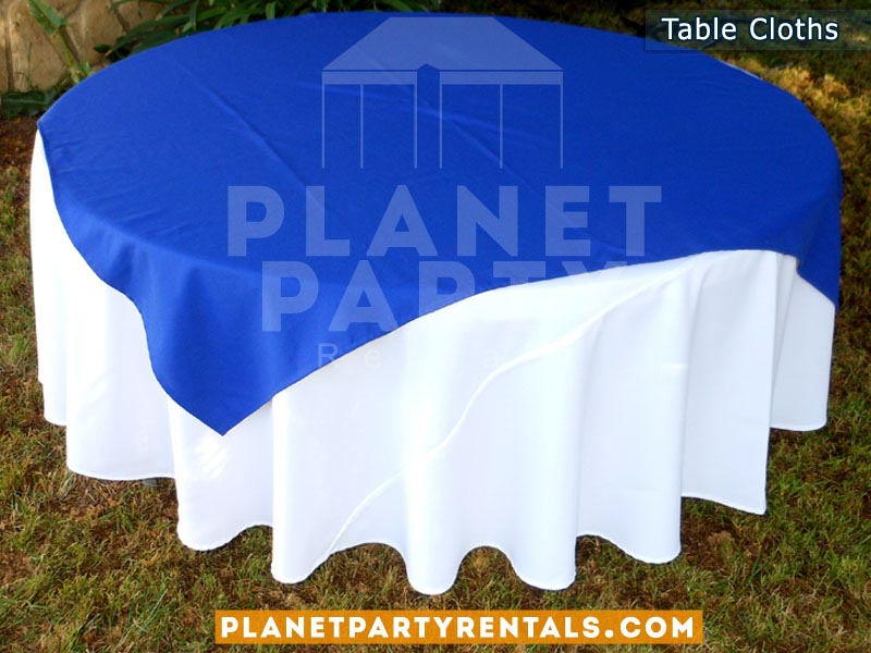 Round Table with White Table Cloth and Royal BlueOverlay/Runner