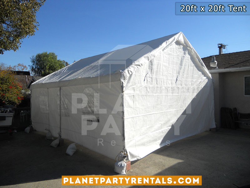 20ft x 20ft White Party Tent | Tent packages includes tent with tables and chairs | Wedding Event Rentals Quinceanera Baptism | San Fernando Valley