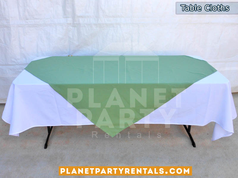 Rectangular Table with White Rectangular Table Cloth and Turquoise Overlay/Runner