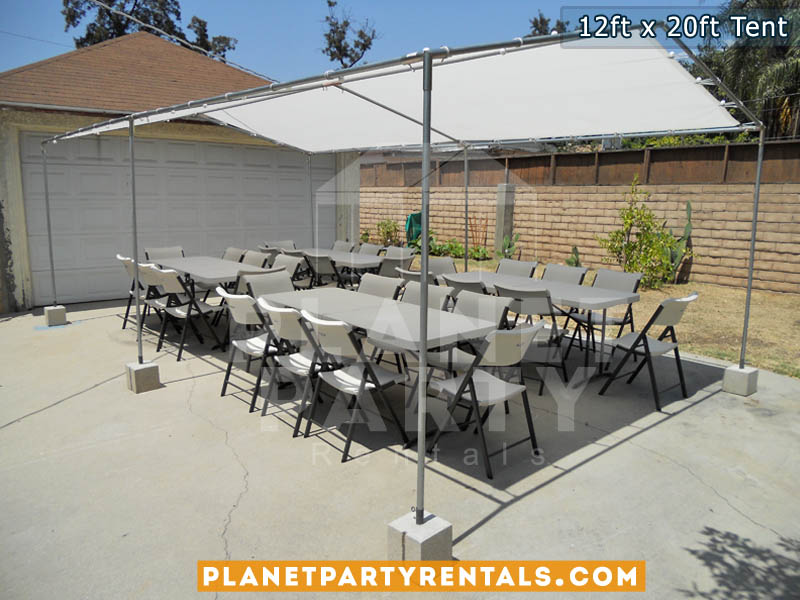 12ft x 20ft White Patio Tent Rental with Tables and Chairs| Shade Tent for Parks / Backyard Events | San Fernando Valley