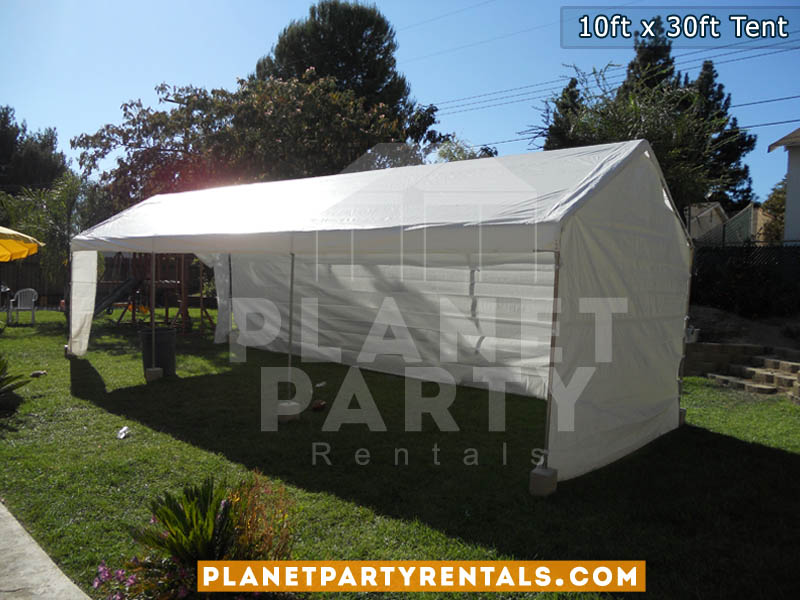 10ft x 30ft White Party Tent with Sidewalls | Tent packages includes tent with tables and chairs | Wedding Event Rentals Quinceanera Baptism | San Fernando Valley Encino Tarzana ShermanOaks Studio City Burbank