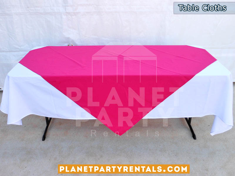 Rectangular Table with White Rectangular Table Cloth and Fuchsia Overlay/Runner