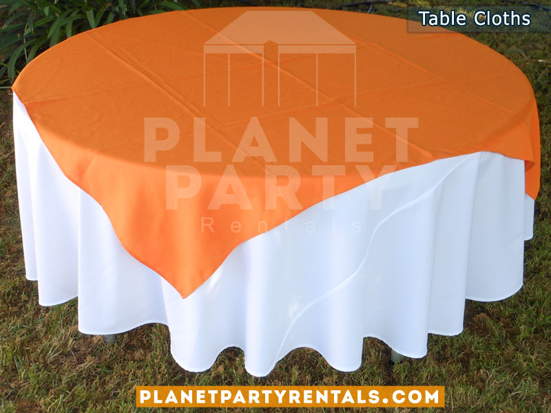Round Table with White Table Cloth and Orange Overlay/Runner
