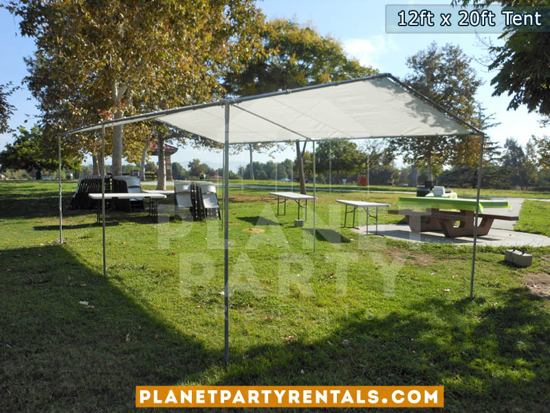 12ft x 20ft White Patio Tent Rental | Shade Tent for Parks / Backyard Events | San Fernando Valley