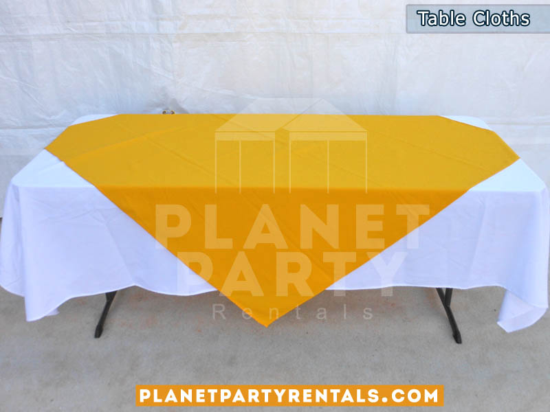Rectangular Table with White Rectangular Table Cloth and Yellow Overlay/Runner