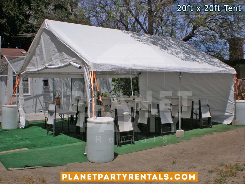 20ft x 20ft White Party Tent with tables and chairs | Party Rental Equipment