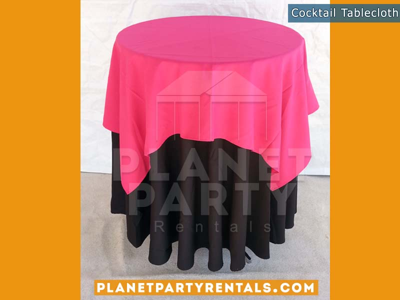 Cocktail Table with Black Tablecloth and Pink Overlay