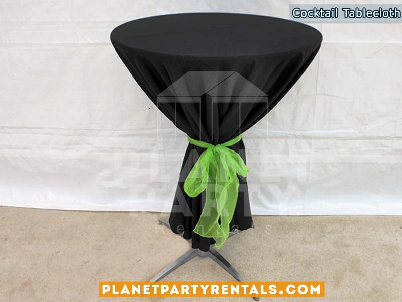 Cocktail Table with Black Tablecloth and Green Bow