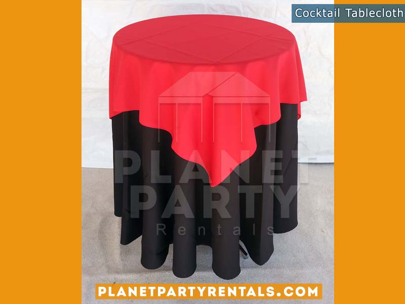 Cocktail Table with Black Tablecloth and Red Overlay