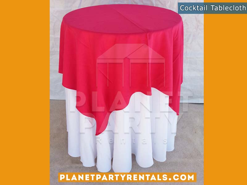 Cocktail Table with White Table Cloth | Linen Rentals
