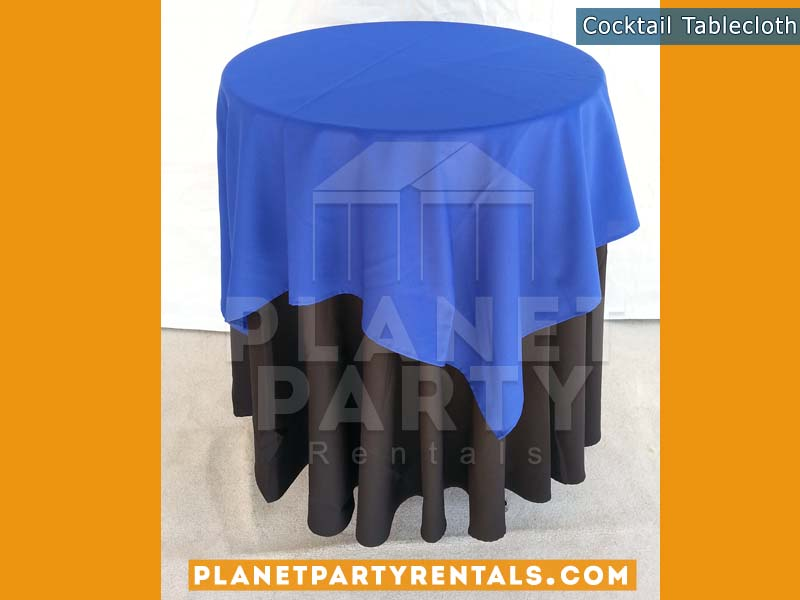 Cocktail Table with Black Tablecloth and Royal Blue Overlay
