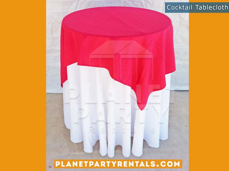 Cocktail Table with White Table Cloth and Red Overlay/Runner | Linen Rentals